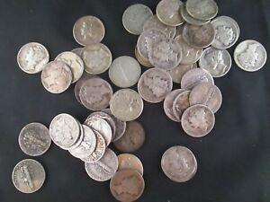 $5 FACE LOT OF 50 90  SILVER MERCURY DIMES  YOU GRADE STOCK PICTURE