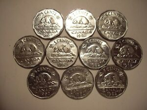 CANADA GEORGE VI 1952 FIVE CENTS   LOT OF 10 COINS