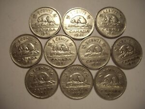 CANADA GEORGE VI 1941 FIVE CENTS   LOT OF 10 COINS