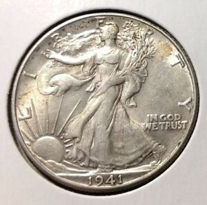 1941 D WALKING LIBERTY HALF DOLLAR   AU