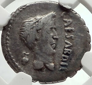 Click now to see the BUY IT NOW Price! MARK ANTONY & JULIUS CAESAR  43BC ANCIENT SILVER ROMAN COIN NGC I67865