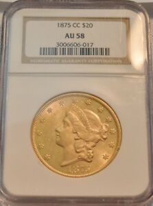 1875 CC $20 NGC AU 58 GOLD LIBERTY DOUBLE EAGLE  CARSON CITY AU/UNC COIN
