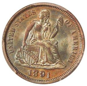 1891 10C PCGS MS 65   PQ COLOR GEM SEATED LIBERTY DIME