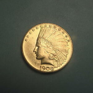 BETTER DATE 1908 W/MOTTO GOLD $10 INDIAN HEAD EAGLE COIN   CHOICE BU