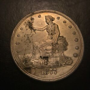1877 CC TRADE SILVER DOLLAR UNCIRCULATED BU MS UNC  KEY DATE CHOP MARKED T$1
