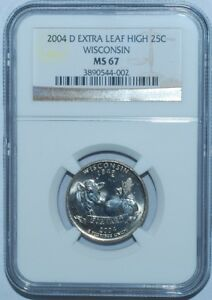 Click now to see the BUY IT NOW Price! 2004 D NGC MS67 WISCONSIN WI QUARTER EXTRA LEAF HIGH