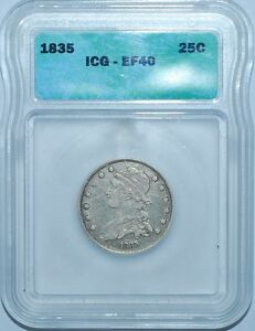 1835 ICG XF40 CAPPED BUST QUARTER