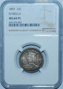 Click now to see the BUY IT NOW Price! 1893 NGC MS64PL PROOFLIKE ISABELLA COMMEMORATIVE QUARTER