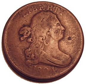 OLD US COINS  1804 DRAPED BUST HALF CENT HIGHGRADE COPPER BEAUTY