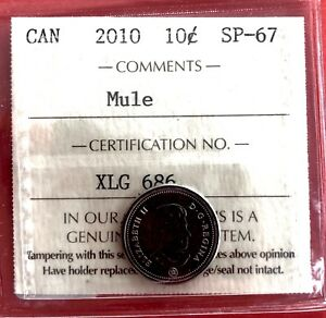 Click now to see the BUY IT NOW Price!  MULE 2010 CANADA SILVER 10 CENT DIME COIN   ICCS SPECIMEN SP 67