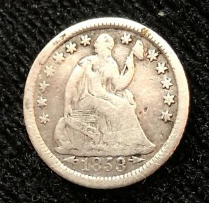 1853 O HALF DIME  ARROWS AT DATE  LIBERTY SEATED HALF DIME/VARIETY 3  1853 55