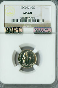 Click now to see the BUY IT NOW Price! 1990 D ROOSEVELT DIME NGC MAC MS 68 90FT PQ FINEST SPOTLESS $12 000 IN FT .