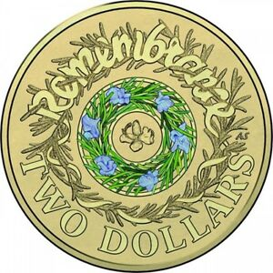 2017 AUSTRALIAN REMEMBRANCE DAY  PURPLE FLOWERS $2 COIN FROM A MINT ROLL