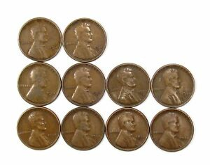 LOT OF 10 1924 S 1C LINCOLN WHEAT CENT PENNIES F FINE / F  FINE  135778