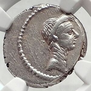 Click now to see the BUY IT NOW Price! JULIUS CAESR PORTRAIT 42BC ROME AUTHENTIC ANCIENT SILVER ROMAN COIN NGC I72396