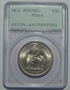 1938 PCGS MS64 NEW ROCHELLE COMMEMORATIVE HALF CERTIFIED FREE SHIP RATTLER