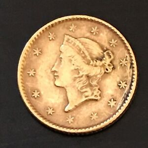 1853 LIBERTY HEAD $1 GOLD COIN EX JEWELRY PIECE