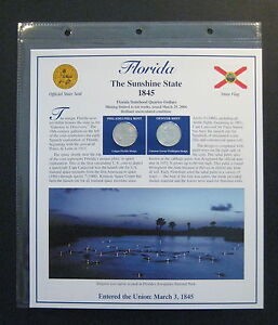 2004 FLORIDA STATE QUARTERS & STAMPS PANEL   POSTAL COMMEMORATIVE SOCIETY  L731