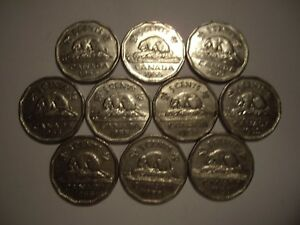CANADA ELIZABETH II 1955 FIVE CENTS   LOT OF 10 COINS