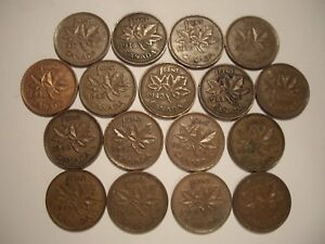 C CANADA GEORGE VI SMALL CENTS FROM 1937   1952   LOT OF  17 COINS