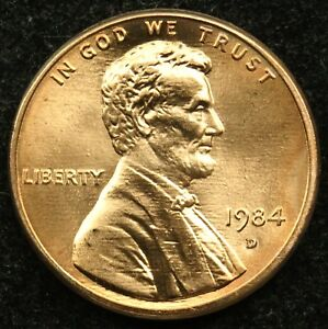 1984 D UNCIRCULATED LINCOLN MEMORIAL CENT PENNY BU  B01