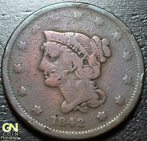 1842 BRAIDED HAIR LARGE CENT     MAKE US AN OFFER   W3141 ZXCV