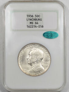 1936 LYNCHBURG COMMEMORATIVE HALF DOLLAR NGC MS 64 PQ     MS66 QUALITY  CAC