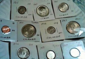 COLUMBIA LOT OF 10 UNC COINS 1964 10 CENTAVOS 1965 20 & 50 CENTAVOS 1967 1 PESO