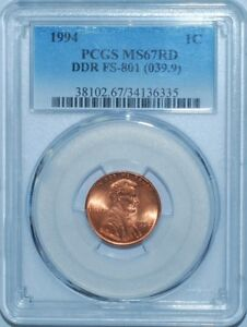 Click now to see the BUY IT NOW Price! 1994 PCGS MS67RD FS 801 DDR RED DOUBLED DIE REVERSE LINCOLN CENT TIED 4 FINEST
