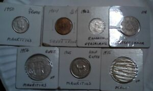 LOT OF 7 DIFFERENT ISLAND COINS MAURITIUS 1950 1/4 RUPEE 1956 1 RUPEE AND 1965