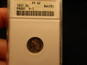 Click now to see the BUY IT NOW Price! 1831 HALF DIME PROOF ANACS PF 62 R 8 RARITY AS A PROOF