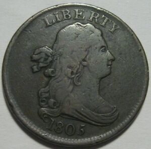 1805 F/VF HALF CENT SUPER EYE APPEAL