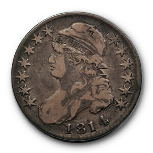 1814 50C CAPPED BUST HALF DOLLAR FINE TO EXTRA FINE O 107 RP99