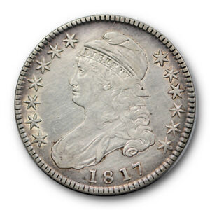1817 50C CAPPED BUST HALF DOLLAR FINE TO EXTRA FINE CLEANED RP105