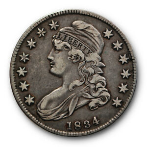 1834 50C CAPPED BUST HALF DOLLAR FINE TO EXTRA FINE ORIGINAL RP123