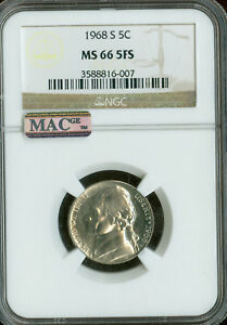 Click now to see the BUY IT NOW Price! 1968 S JEFFERSON NICKEL NGC MAC MS66 FS PQ FINEST POP 4  SPOTLESS .