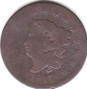 1817 CORONET HEAD LARGE CENT  N16
