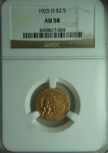 1925 D INDIAN HEAD QUARTER GOLD EAGLE   $2.50   NGC AU58