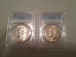 1976 TYPE 1 EISENHOWER DOLLAR MS63 PCGS AND 1976 TYPE 2 MS64 PCGS DOLLAR 2 COINS