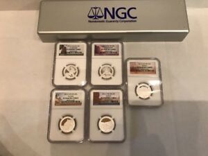 2012 S SILVER 25C QUARTERS 5 COIN SET NGC PF 70 PF70