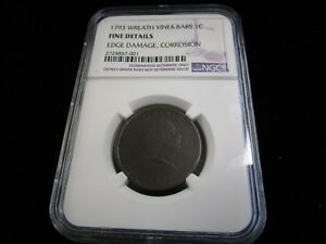 1793 UNITED STATES LARGE CENT CHAIN REVERSE NGC GRADED FINE DETAILS