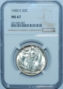 Click now to see the BUY IT NOW Price! 1945 S NGC MS67 WALKING LIBERTY HALF DOLLAR TIED FOR FINEST REGISTRY