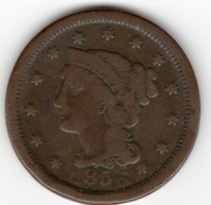 1856 BRAIDED HAIR LARGE CENT CIVIL WAR DIE ERROR? MISSING 1 FROM DATE YOU JUDGE