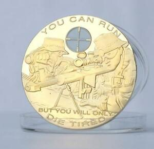 1PC US ARMY SNIPER COMMEMORATIVE COIN GOLD PLATED SNIPER RIFLE COLLECTION COPPER