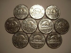 CANADA GEORGE VI 1951 FIVE CENTS   LOT OF 10 COINS