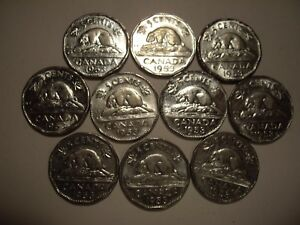 CANADA ELIZABETH II 1953 FIVE CENTS   LOT OF 10 COINS