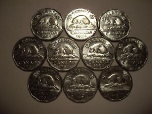 CANADA ELIZABETH II 1954 FIVE CENTS   LOT OF 10 COINS
