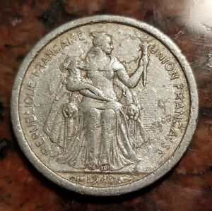 1949 FRENCH POLYNESIA 1 FRANCS COIN   BEAUTIFUL DESIGN      3838
