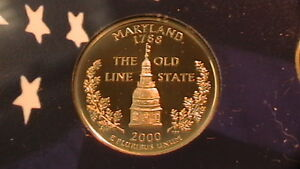 2000 S MARYLAND PROOF STATE QUARTER BEAUTIFUL CAMEO 314B7