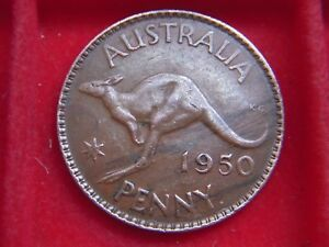 1950 GEORGE V1 PENNY FROM AUSTRALIA FROM MY COLLECTION [Y93]